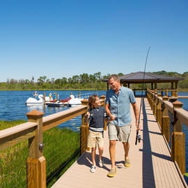 father and son on the Grove's dock