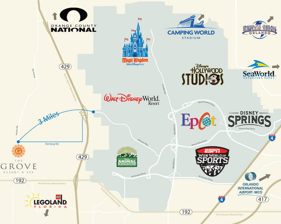 map directions to the grove resort spa orlando florida. Black Bedroom Furniture Sets. Home Design Ideas