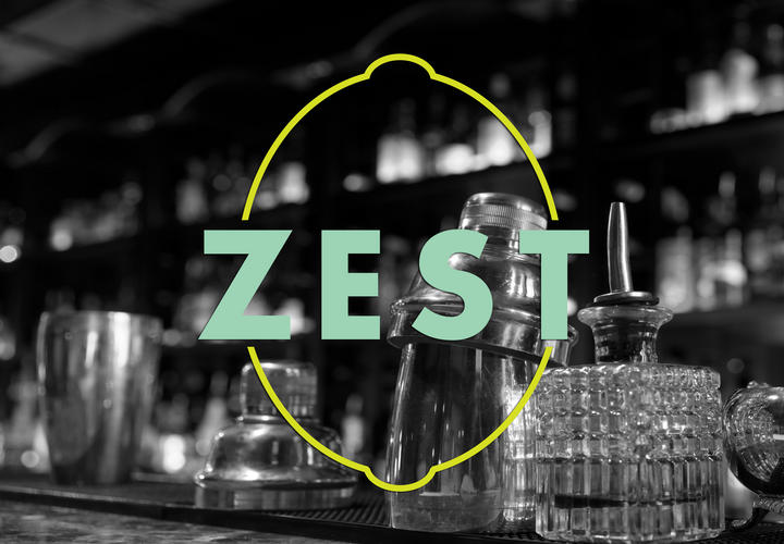 zest logo in front of a bar with tumblers on top