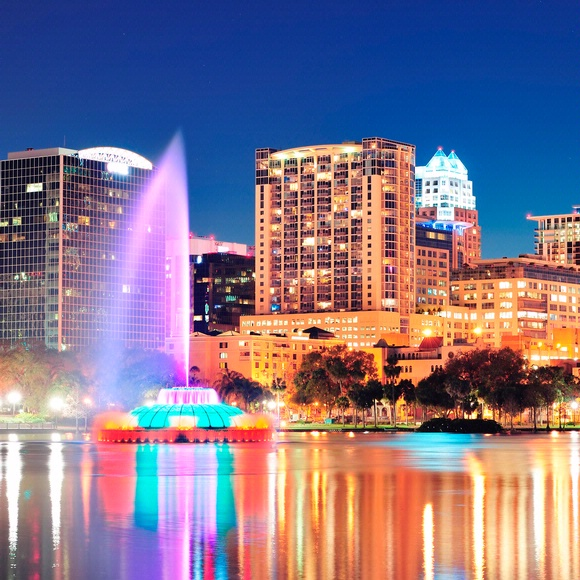 downtown orlando skyline with a large fountain