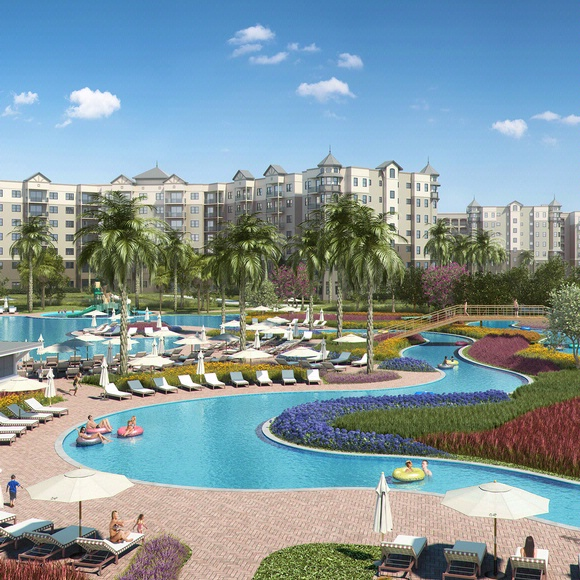 rendering of large lazy river at the grove resort