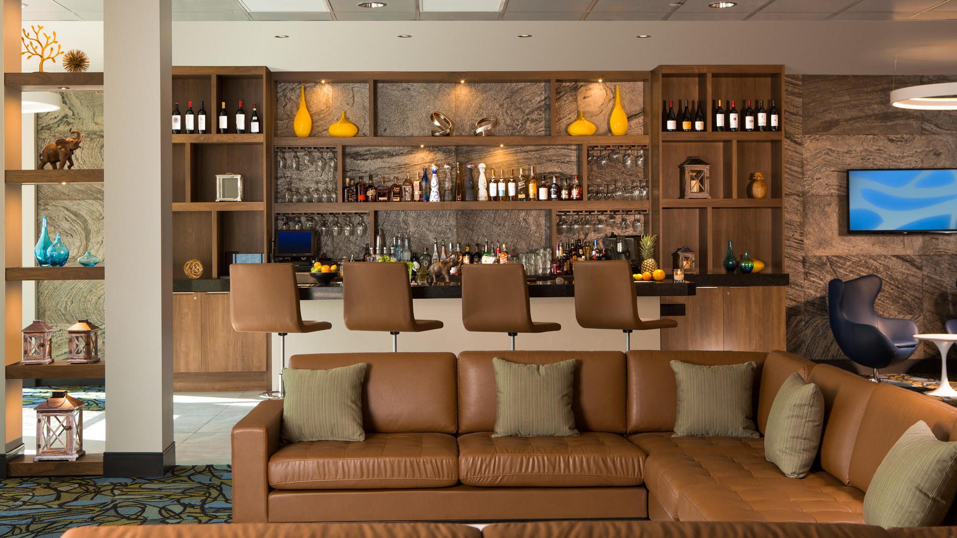 rendering of the bar lounge at the grove resort