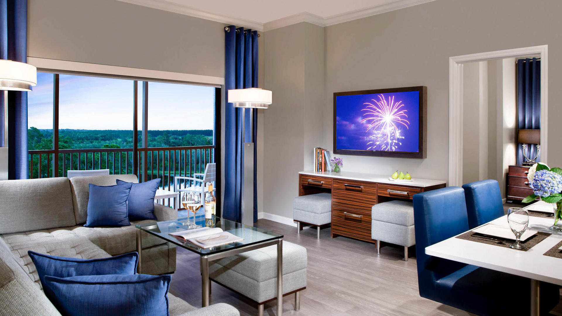 Two Bedroom Suite. indoor sitting area in two bedroom suite 2 Bedroom Suites Orlando  The Grove Resort Spa