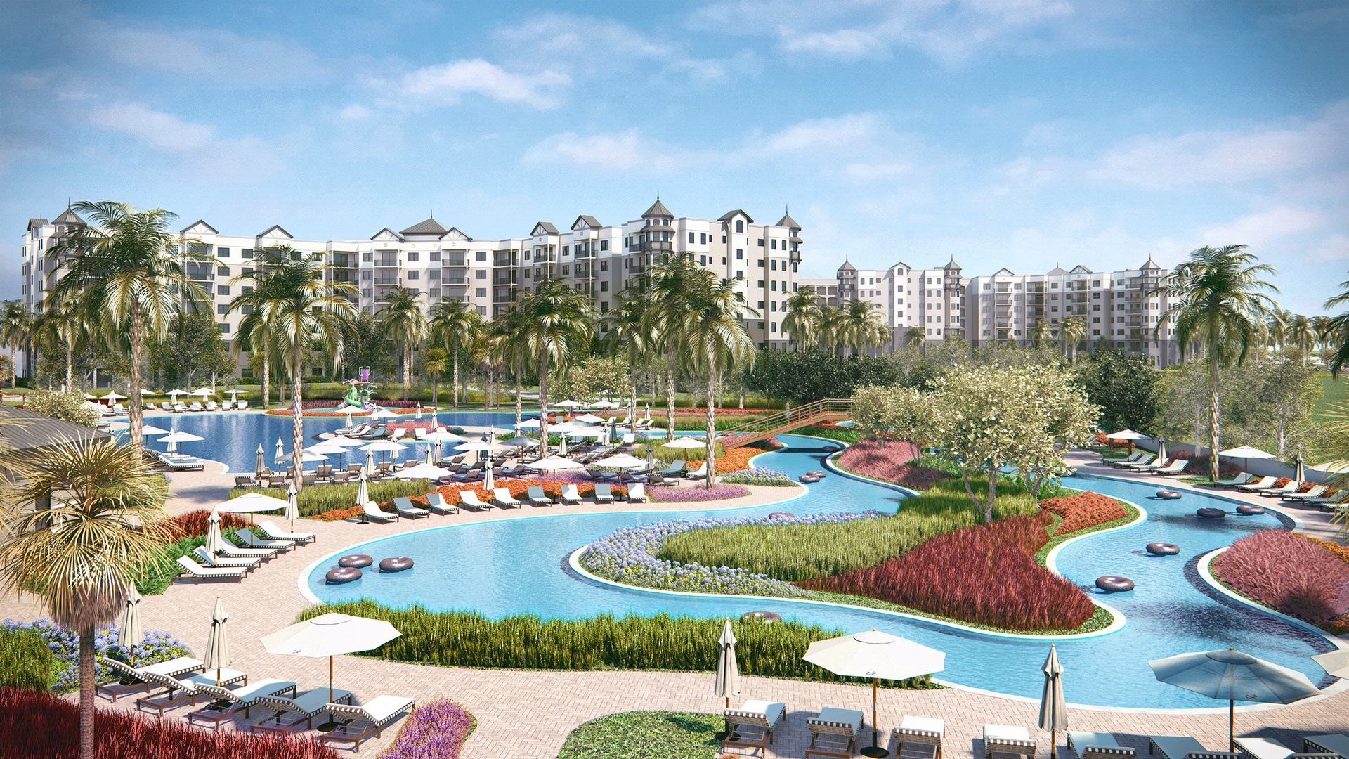 rendering of the lazy river at the grove resort
