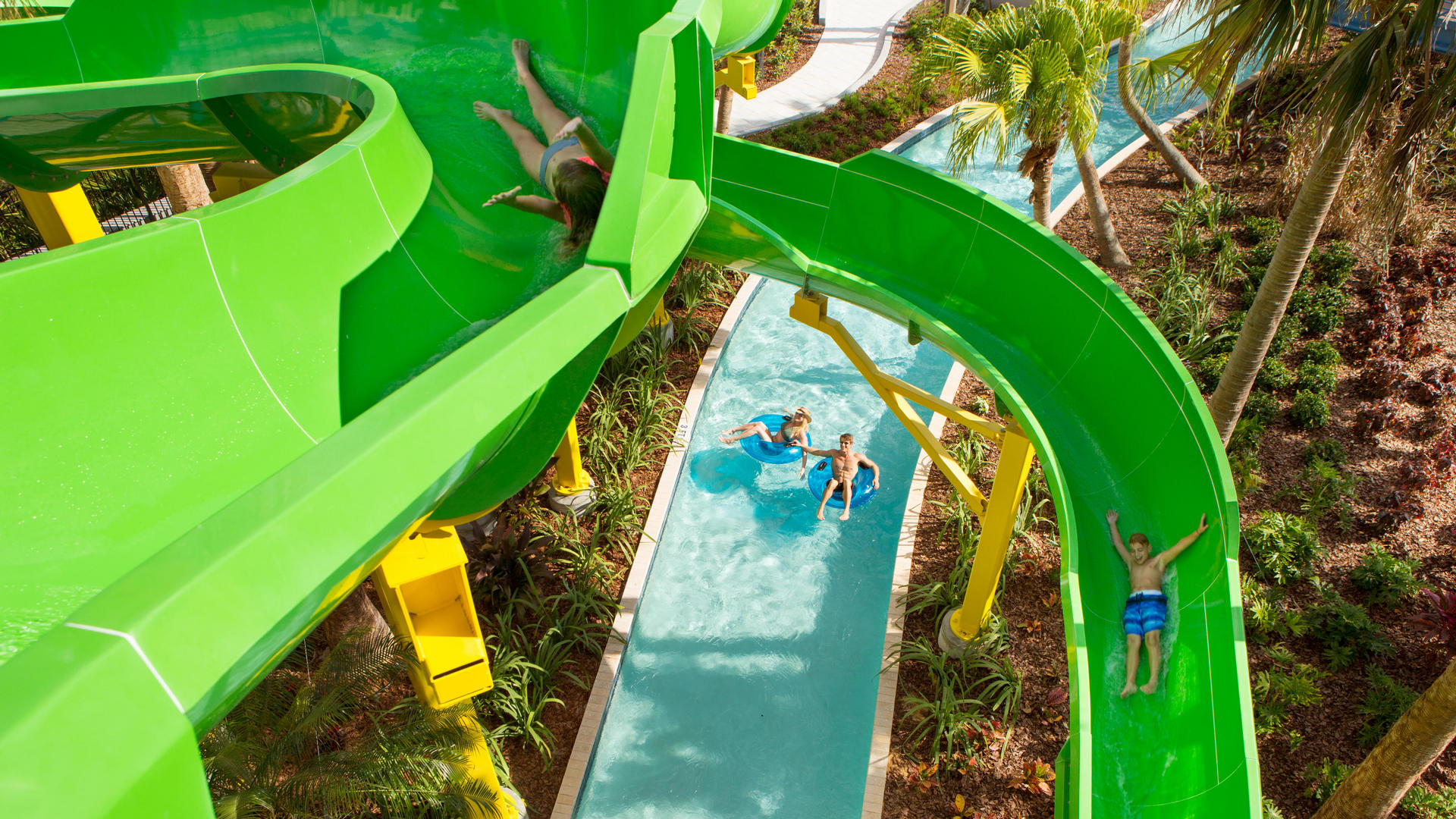 lazy river and water slides