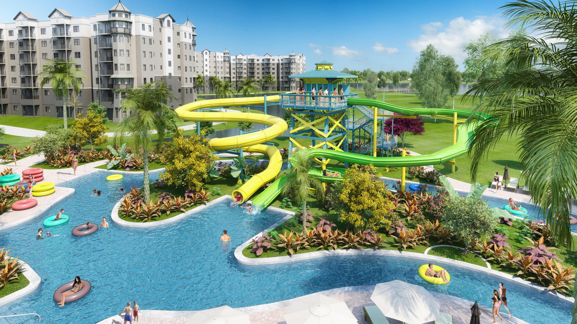 rendering of large water slides and pool at the grove resort