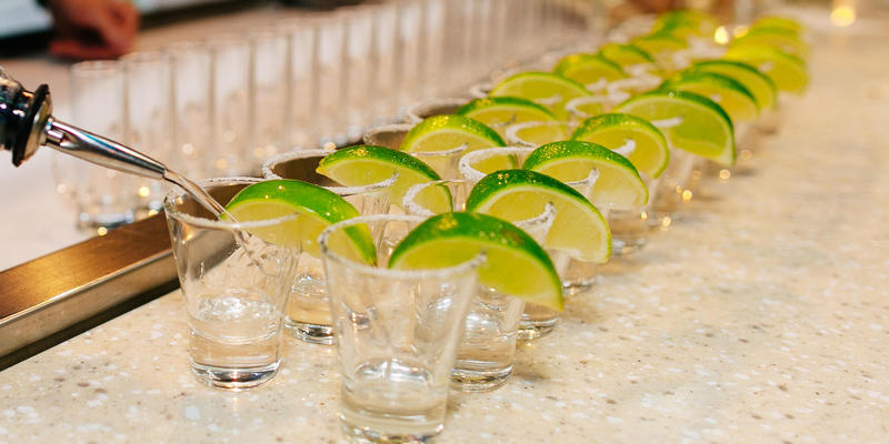 tequila shots with limes